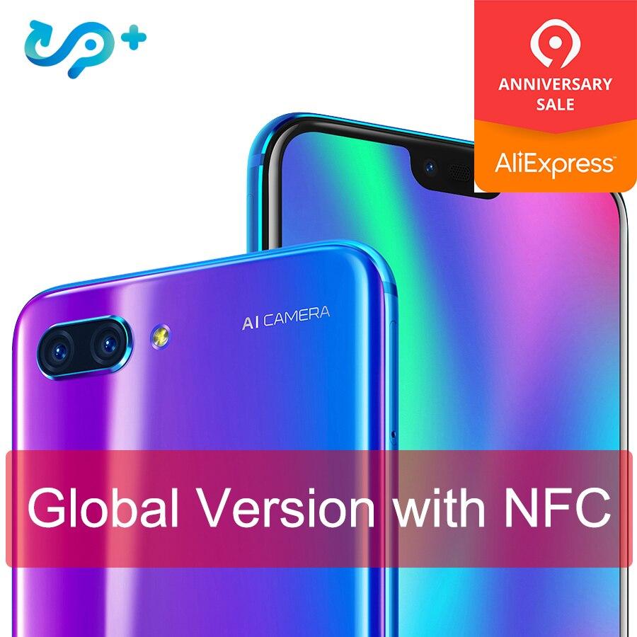 Original Global versão Honra 10 4G 128G 4G LTE Smartphones 3D Kirin 970 AI Processador De Vidro Curvo 5.8 polegada Google play