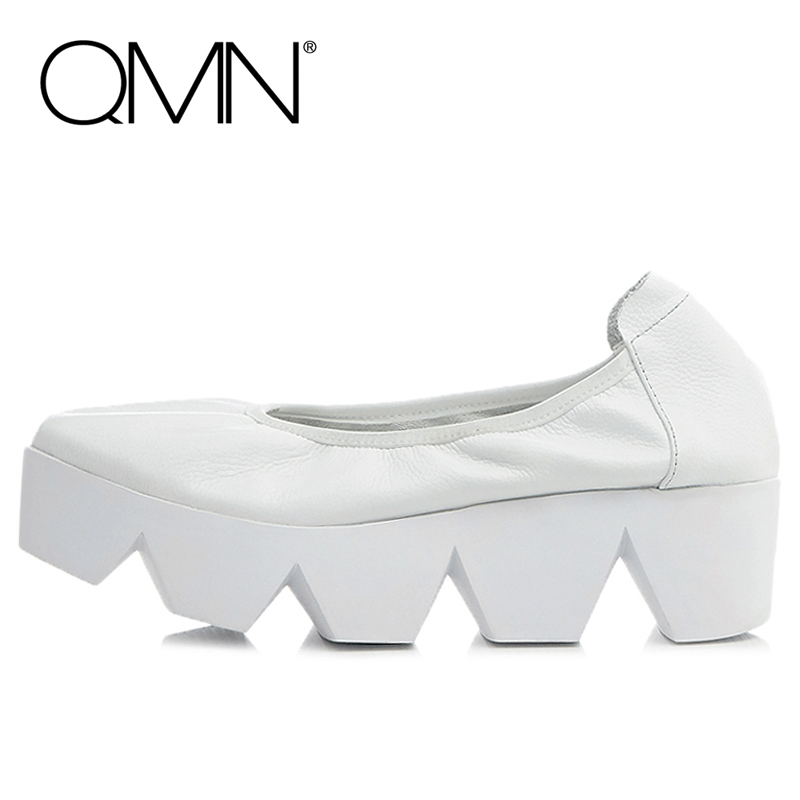 QMN women genuine leather platform flats Women Silp On Casual Shoes Woman Creepers Leather Flats With Gear Soles Zapatos Mujer qmn women laser cut genuine leather platform flats women square toe height increasing brogue shoes woman flats creepers 34 39