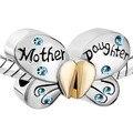 Fit Pandora pulseras del encanto Madre Hija Separable Del Encanto Encanto de La Mariposa azul Cristalino Del Corazón Del Amor