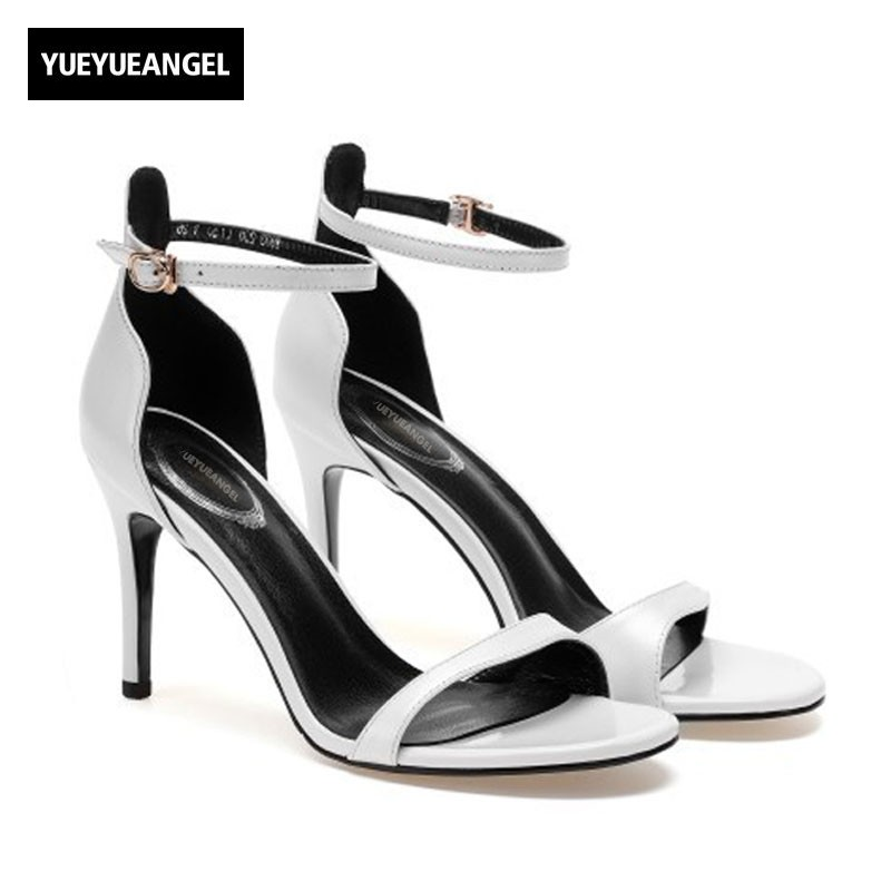купить High Thin Heels Ladies Sandals 2018 Summer New Sexy Open Toe Natural Leather Sandals Fashion Brand Buckle Party Shoes Womens по цене 4782.43 рублей