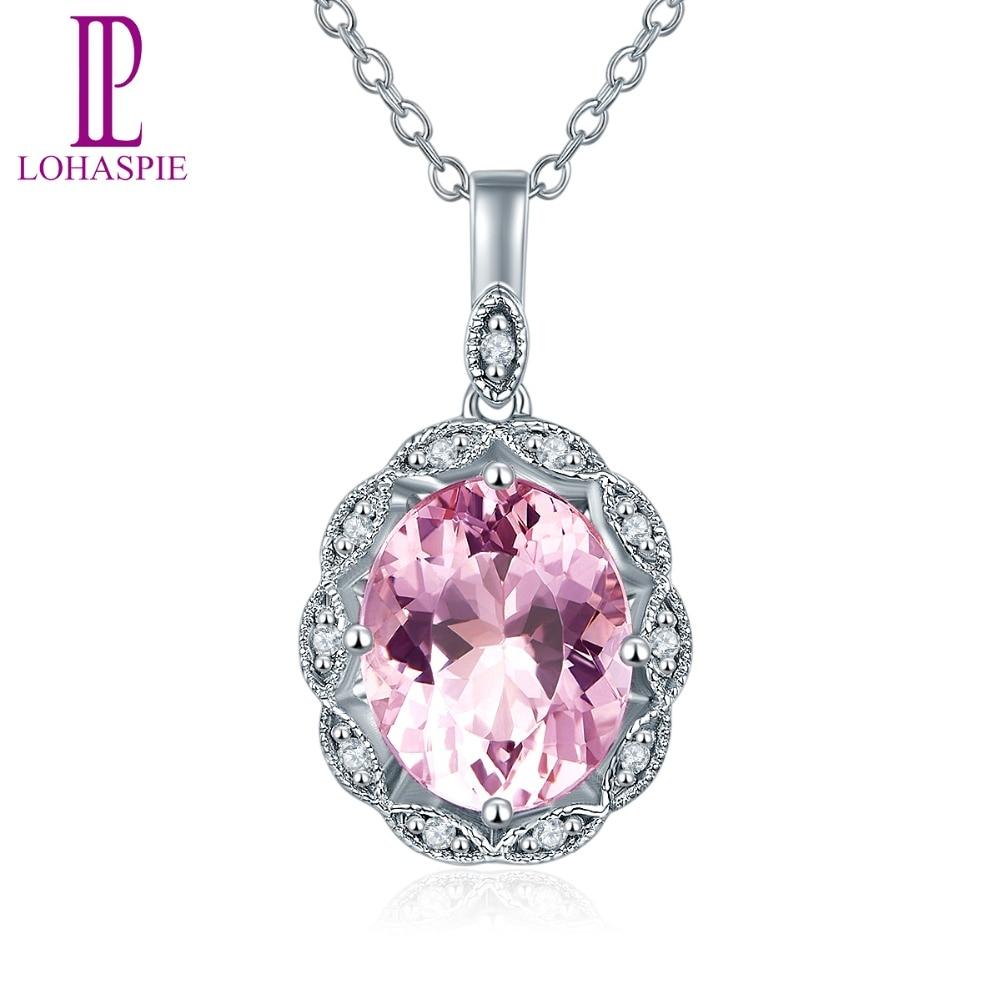 Lohaspie diamant-bijoux solide 14 K or blanc naturel pierre gemme Morganite pendentif pour les femmes pour cadeau d'anniversaire avec chaîne en argent nouveau