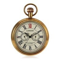 Steampunk Vintage Style Mens Hand Wind Mechanical Pocket Watch Pure Copper Case W/Chain reloj de bolsillo