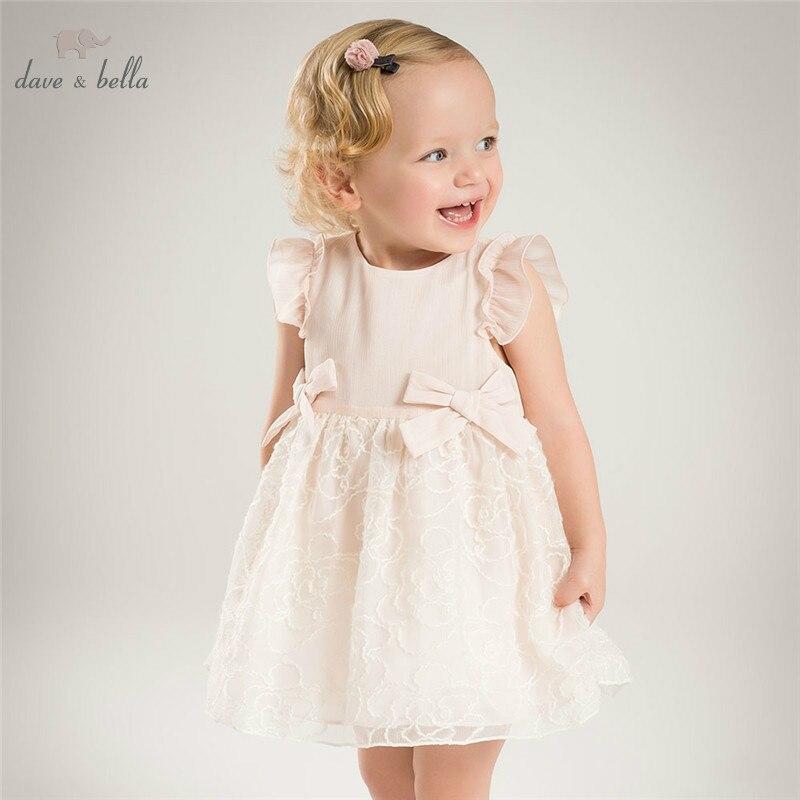 DBJ9679 dave bella baby girls dress Long sleeve spring floral dresses kids girls dress children birthday