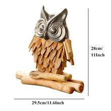 VILEAD 11'' Wood Owl Figurine Wooden Wise Owl Decoration Ceramic Owl Model Vintage Home Decor Animal Ornament Souvenirs Kid Gift owl