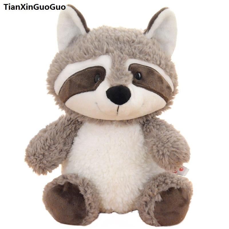 Mignon gris raton laveur en peluche grand 50 cm dessin animé raton laveur doux poupée jeter oreiller cadeau d'anniversaire s0884