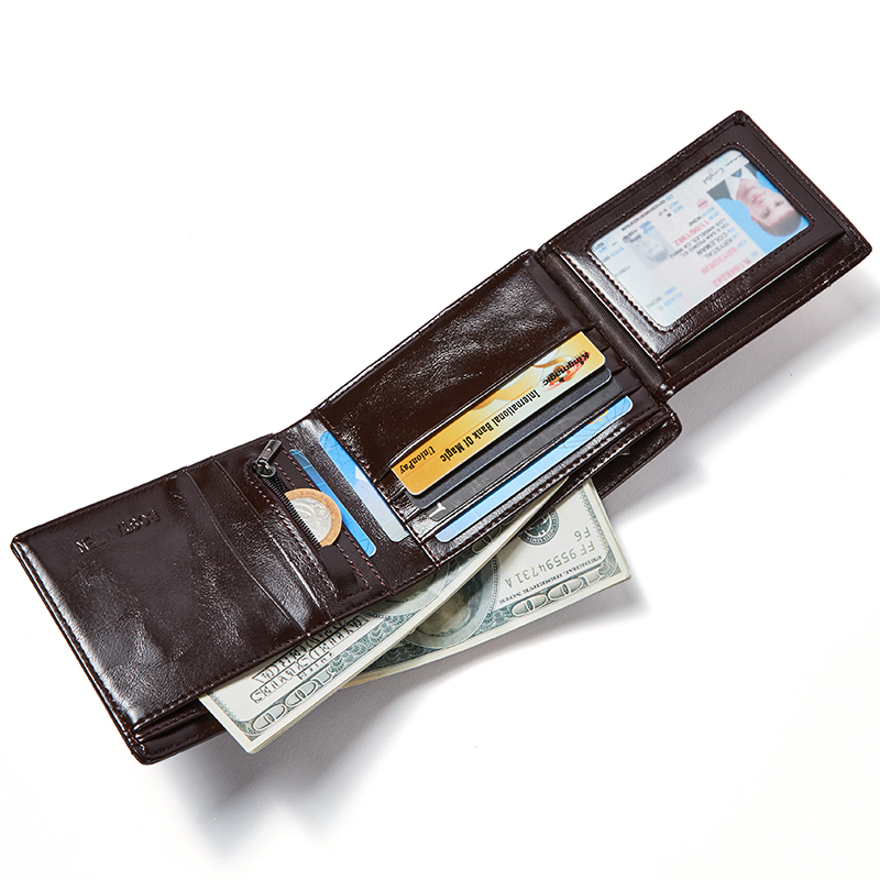 Мужской кошелек из натуральной кожи, новинка, брендовые кошельки для мужчин, черный, коричневый, двойной кошелек на молнии, портмоне, кошельки с подарочной коробкой