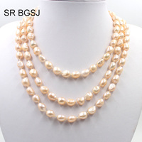 Free Shipping 100 inch Select by Color Women Boho Jewelry Pearl Beads Knot Sweater Wedding Necklace 7x9mm