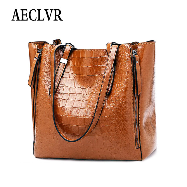 AECLVR Solid Color Ladies Lager Casual Totes Women Handbag Alligator Pu Leather Shoulder Bag Fashion Female Daily Crossbody Bags