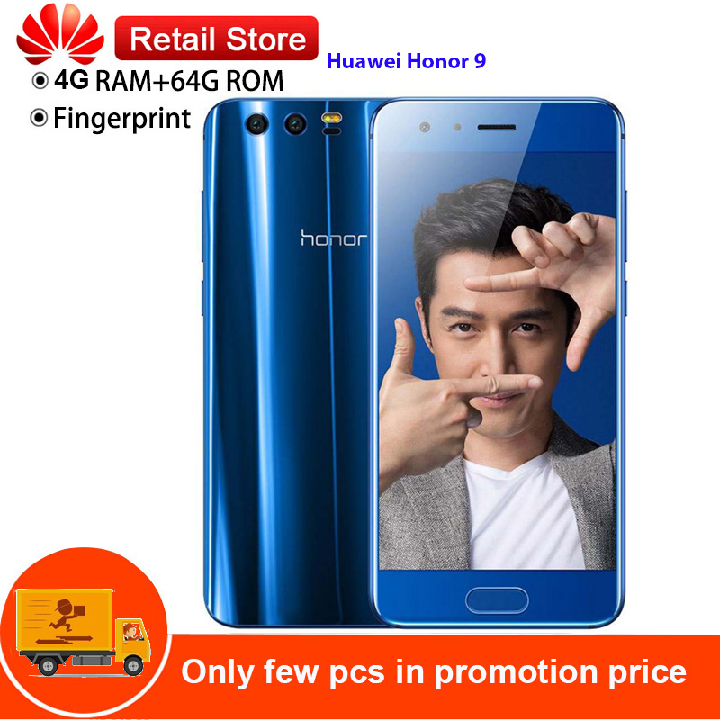 Huawei Honor 9 4G téléphone portable intelligent Android 7.0 5.15 ''2.4 GHz Kirin 960 Octa Core 4 GB 64 GB double caméras capteur d'empreintes digitales