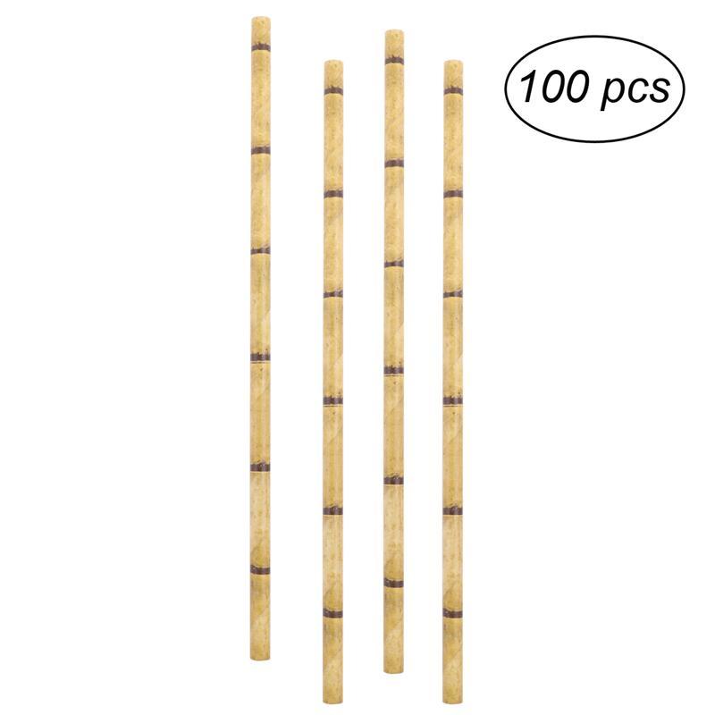 100 stücke Papierstrohe Bambus Trinken Papier Einweg Strohhalme für ...