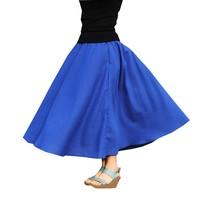 2017 Autumn Vintage Women Simplicity Pure Color Long Swing Ladies Maxi Skirt Casual Ethnic Cotton Linen