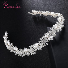 Luxury Clear Crystal Bridal Hair Vine Pearls Wedding Hair Jewelry Accessories Headpiece Headband 3colorsRE3366 все цены