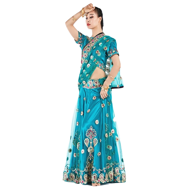 2019 Dance Wear Performance Belly Dance Clothes Indian Dance Embroidered Bollywood Costume 3pcs Set (Top, Skirt & Sari)