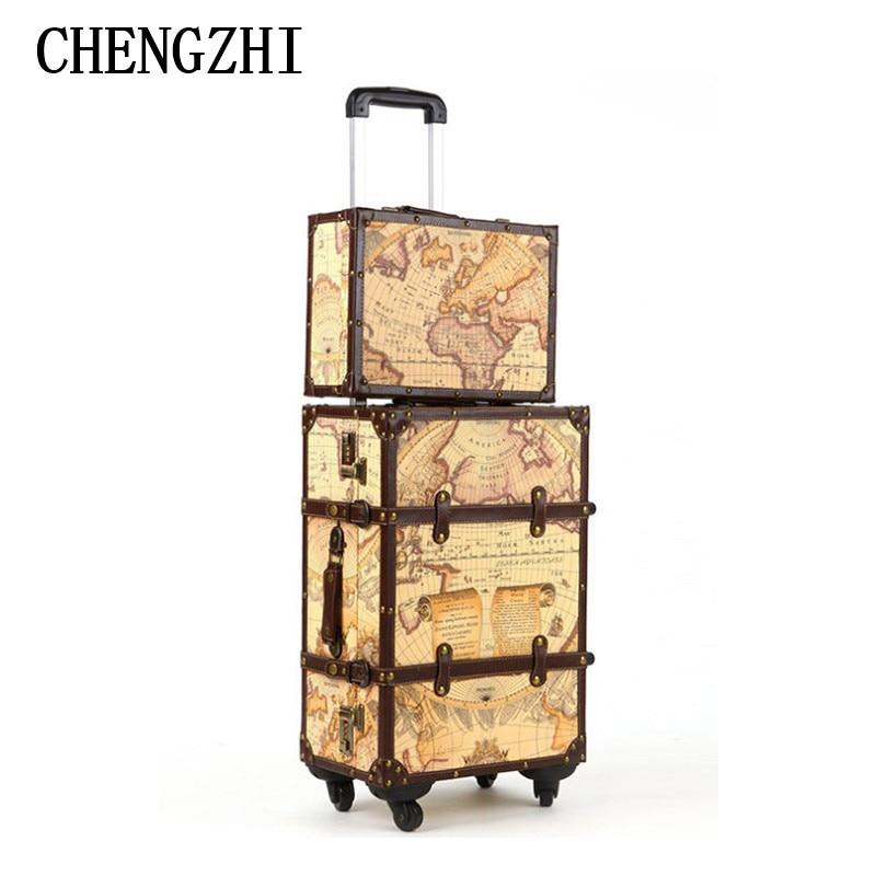 Gepäck & Taschen Chengzhi 20 24 26 zoll Karte Maleta Vintage Roll Koffer Spinner Leder Koffers Trolley Gepäck Für Reisen Einen Einzigartigen Nationalen Stil Haben Gepäck Sets