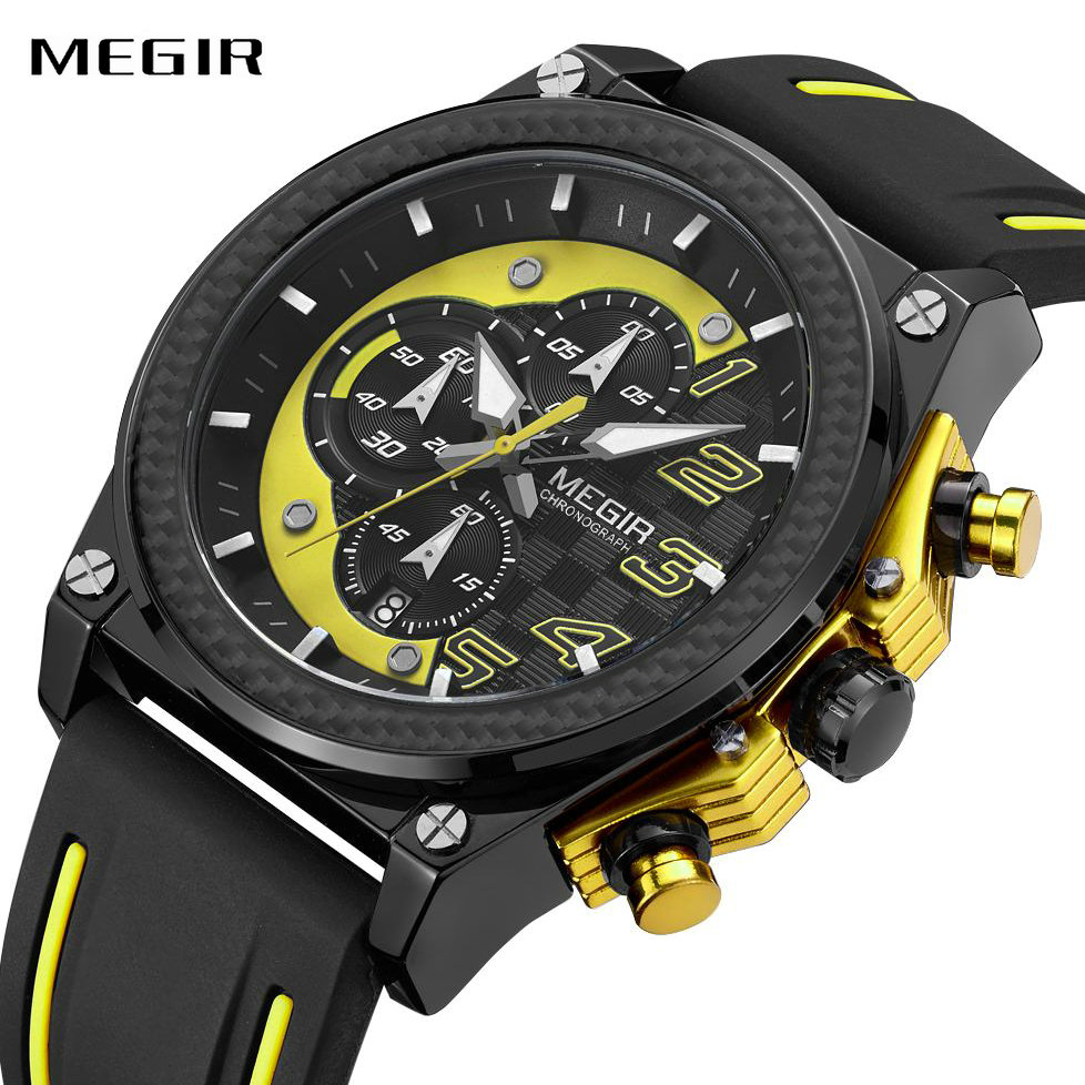 MEGIR Quartz Men Sport Watches Big Dial Silicone Strap Army Military Watches Clock Top Brand Luxury Men Chronograph Wristwatch потолочный светильник bohemia ivele 7711 22 ni drops