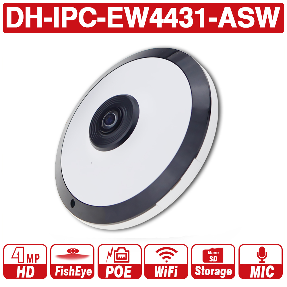 DH with logo IPC EW4431 ASW 4MP Panorama POE WIFI Fisheye IP Camera built in MIC