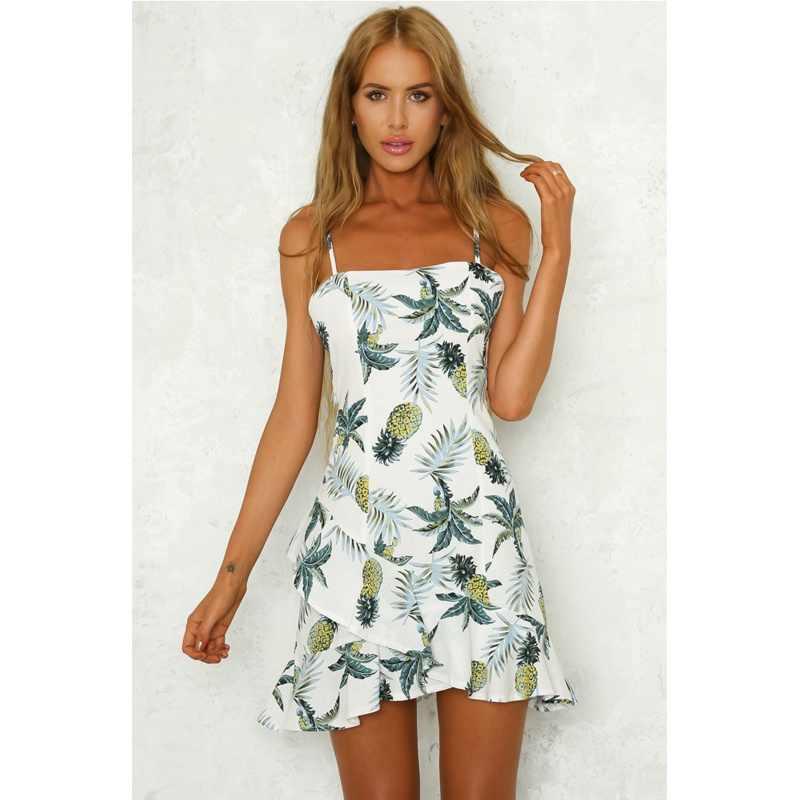 200e245822c ... Sexy Women Fashion Dresses 2018 Summer Pineapple Pattern Print Sling  Dress Sleeveless Casual A-line ...