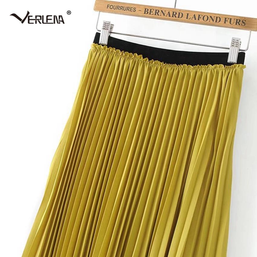 11e7c8fd2 Verlena 2019 Plisse Slip Pleated Skirt Mustard Yellow High Waist Bohemian  Chiffon Skirts Elastic Waist Mid Calf Skirts Womens-in Skirts from Women's  ...