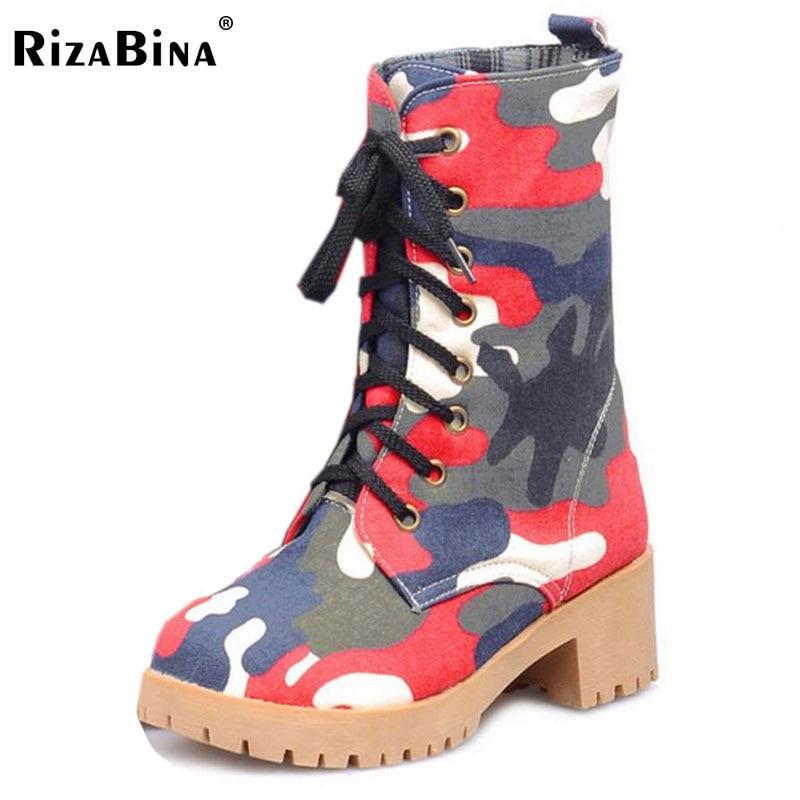 цены на RizaBina Women High Heel Boots Cross Strap Camouflage Mid Calf Boots Warm Plush In Winter Botas Woman Winter Footwear Size 34-39 в интернет-магазинах