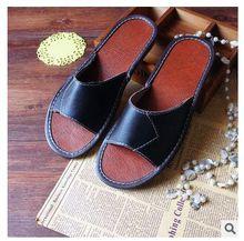 Genuine Leather Men Shoes  Summer Slippers Home High Quality Full Grain Leather Slippers Women Size 5-13 Slip Home Floor Shoe