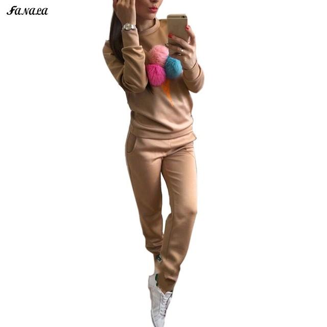 Fanala Inverno Calças Camisola Hoodies Terno Sportsuit Treino para As Mulheres 2 Peças Conjunto de Manga Longa Camisolas Pullover Outono