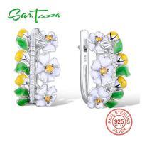 SANTUZZA Silver Flower Earrings For Women 925 Sterling Silver Earrings Silver 925 Cubic Zirconia Brincos Jewelry