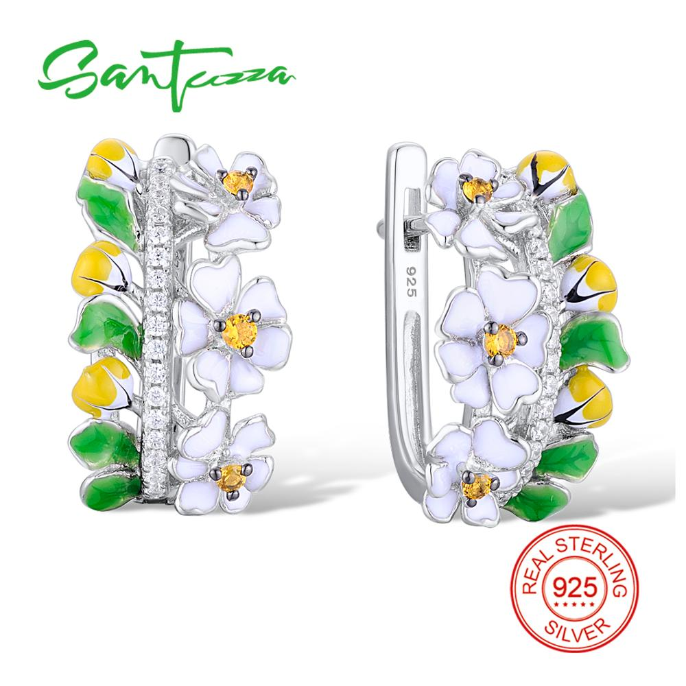 SANTUZZA Silver Green Flower Earrings For Women 925 Sterling Silver Earrings Silver 925 Cubic Zirconia brincos Jewelry Enamel