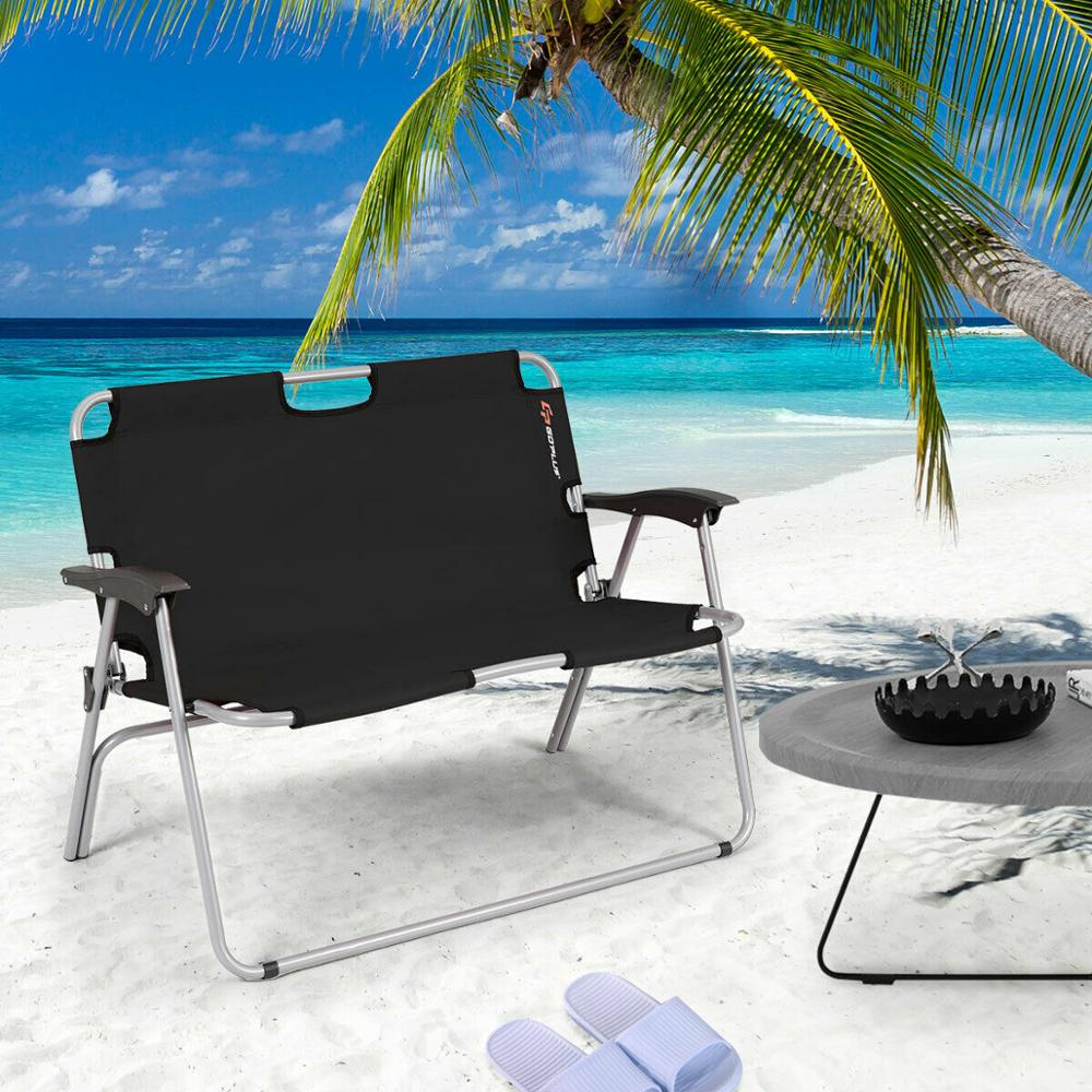 Giantex 2 Person Folding Camping Bench Portable Loveseat Double Chair Outdoor Black OP3774BK