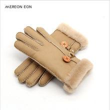 c9766d073a36d 2017 Russe hiver en cuir gants dame chaud gants en cuir gants en peau de  mouton véritable laine doublure Une variété de couleurs