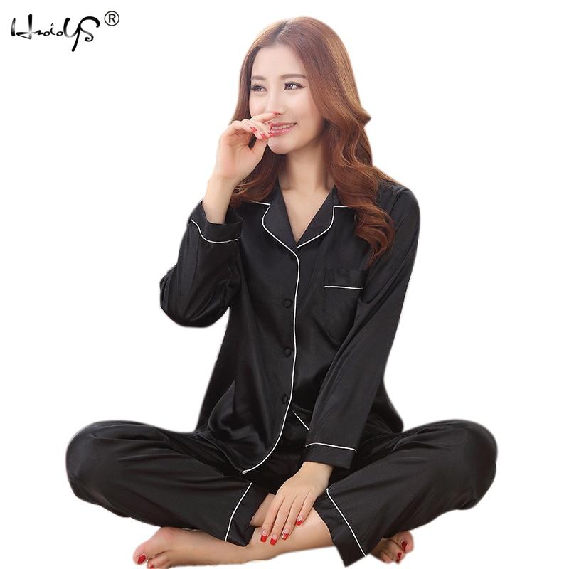 2017 Autumn New Arrival Women Satin Pajama Sets Long Sleeve Sleepwear Set 2-pieces Plus Size V-neck Breathable Pyjamas 6 Colors