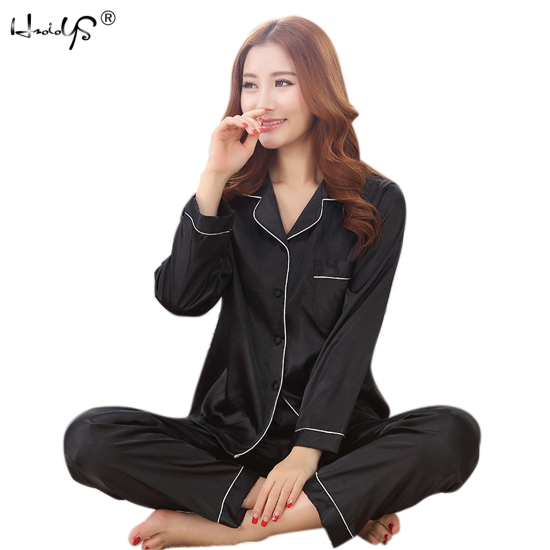 2017 Autumn New Arrival Women Satin   Pajama     Sets   Long Sleeve Sleepwear   Set   2-pieces Plus Size V-neck Breathable Pyjamas 6 Colors