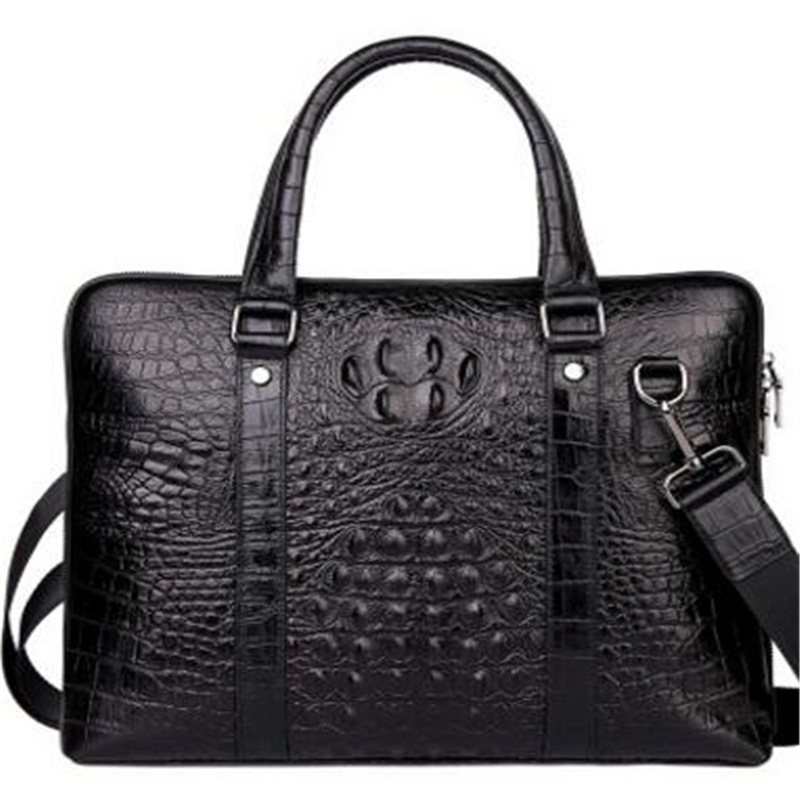 2017 New Style Crocodile Genuine Leather Men Handbags Fashion First Layer Cow Leather Large Capacity Computer Briefcase Bags brass electric solenoid valve 2w 160 15 1 2 inch npt for air water valve 12v nc