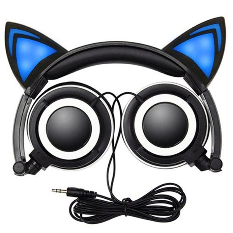 Akaso auriculares de gato plegable parpadeante brillantes auriculares Gaming Headset auricular con luz LED