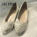 LIN KING EUR Size 35-40 Casual Flat Ballet Women Red Bridal Pearl Lace Ladies Wedding Shoes Flats Bride Performance Shoes