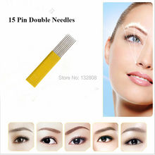50 Pcs 15 Pin Double Needles Blade For Permanent Eyebrow Tattoo Needle Tips Manual Beauty Makeup Microblading Blades For Eyebrow