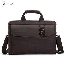 SMIRNOFF 2017 Vintage Man Bag Crazy Horse Leather Briefcases Men Shoulder Bag Notebook Computer Laptop Document Briefcases Male