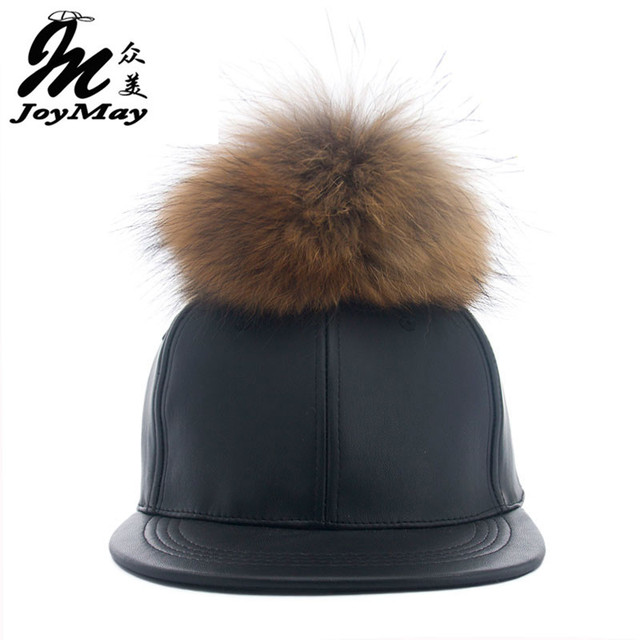 2016 New real fur pom pom cap for women men Spring candy color PU baseball cap with real fur pom poms brand new hiphop cap X118