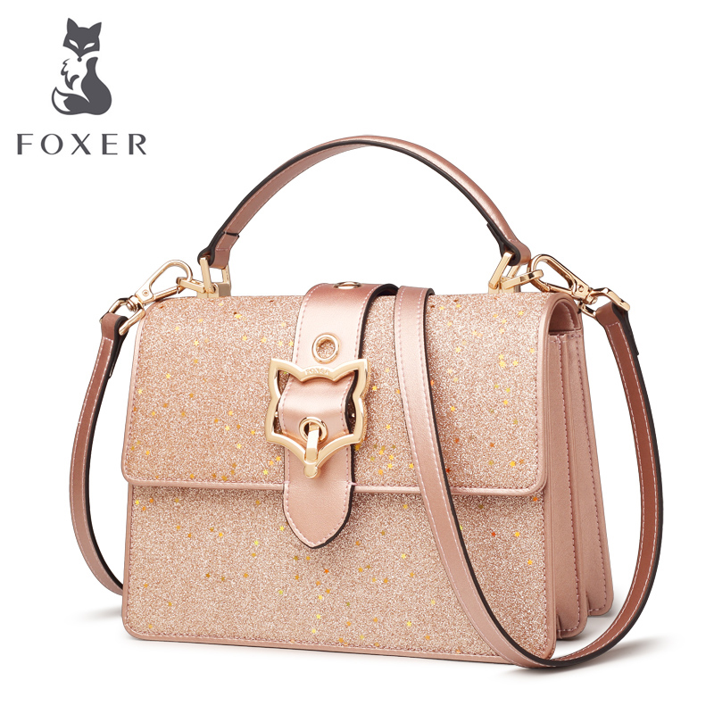 FOXER Women Leather Crossbody Bags Cowhide Female HandBag Fashion Blingbling Messenger Bag Girls New Fashion Shoulder Bag calvin klein jeans women s spaghetti strap denim dress