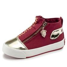 Children Shoes 2017 New Boys Canvas Shoes Denim Girls Princess Shoes Anti-Slippery Kids Fashion Sneakers Zipper Footwear 25-37