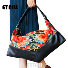 National Ethnic Boho Thai Embroidery Leather Bags Women Brand Luxury Logo Embroidered Hobo Bag Floral Handbags Sac a Dos Femme
