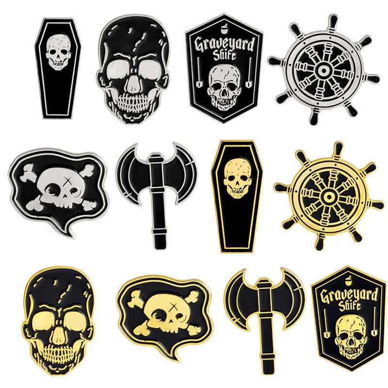 2018 New Creative Design Fashion Skull Coffee Drink Brooch Pins Black Round Enamel Pins Badge Punk Jewelry