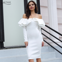 Adyce 2018 Elegant Women Bodycon Dress Clubwear Khaki Blue Long Sleeve Patchwork Ruffles Dress Vestidos Celebrity Party Dresses