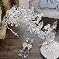 Alto grado de crystal crown joyería hecha a mano con cuentas de la boda accesorios para el cabello tocado de la novia Europea