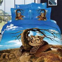 Голубое небо дерево и Леопардовый 3D Постельное бельё Queen Размеры 100% хлопок животных печати Спальня простыня наволочка пододеяльник Чехлы