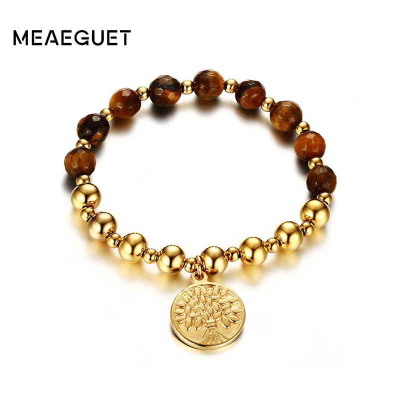 Meaeguet Women's Yoga Bracelets Stainless Steel Beaded Stretch Tree of Life Bracelet Lucky Charms Jewelry tl hot sale life tree ceramic bracelet stainless steel hollow life tree flake white ceramic circle charm bracelet for women gift