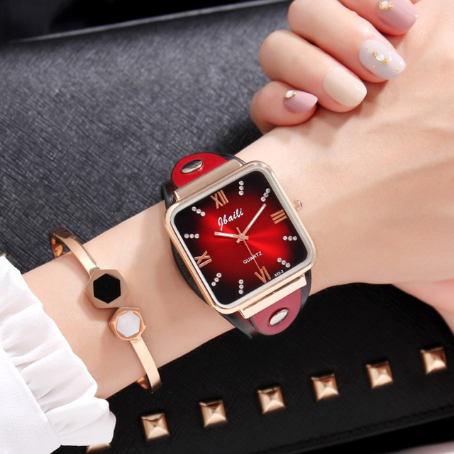 Zegarek damski Jbaili women watches bling square dial leather band quartz wrist