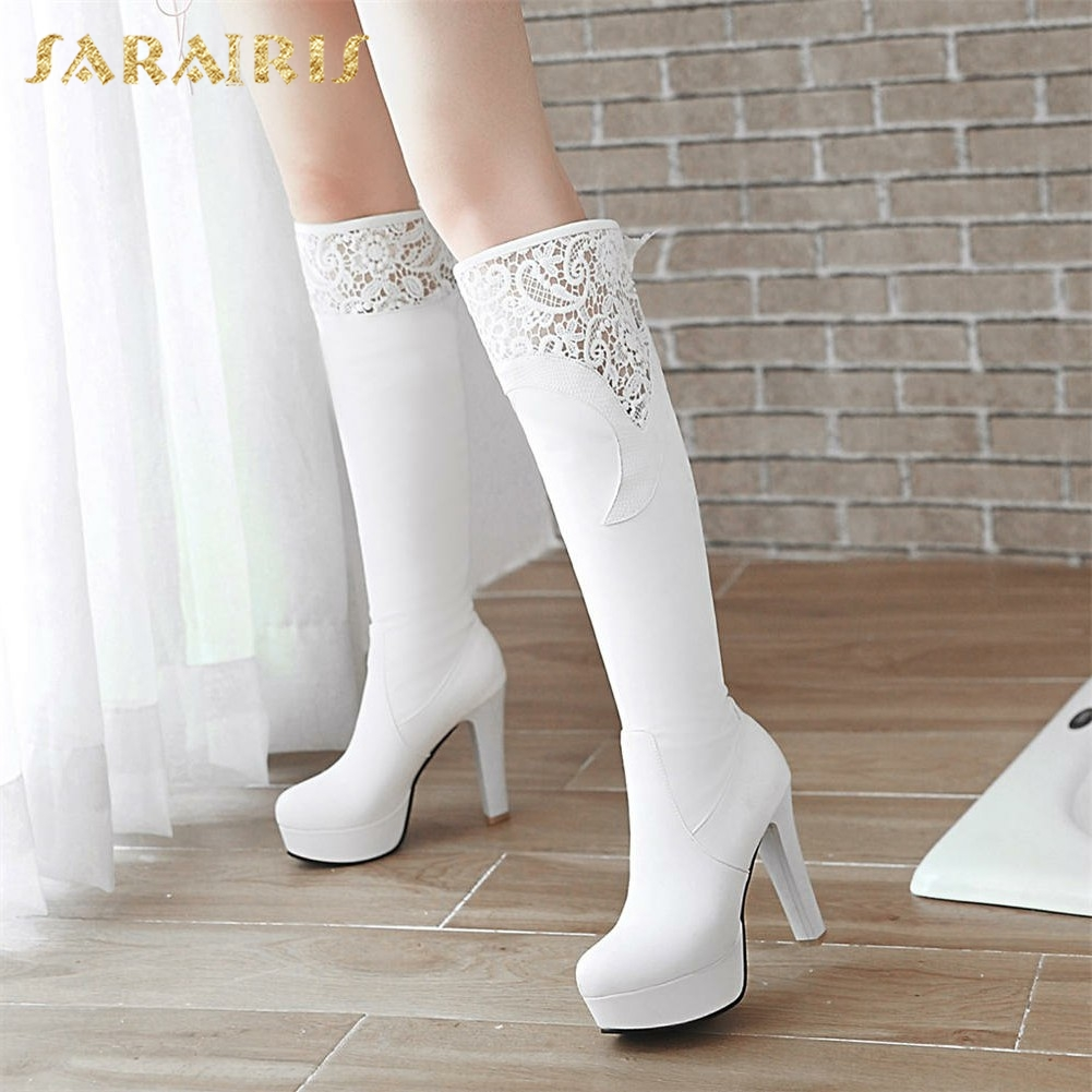 SARAIRIS <font><b>2018</b></font> Big Size 32-43 Lace Upper Winter <font><b>Shoes</b></font> Woman <font><b>Sexy</b></font> High <font><b>Heels</b></font> knee-high Boots Platform Party women's <font><b>Shoes</b></font> image