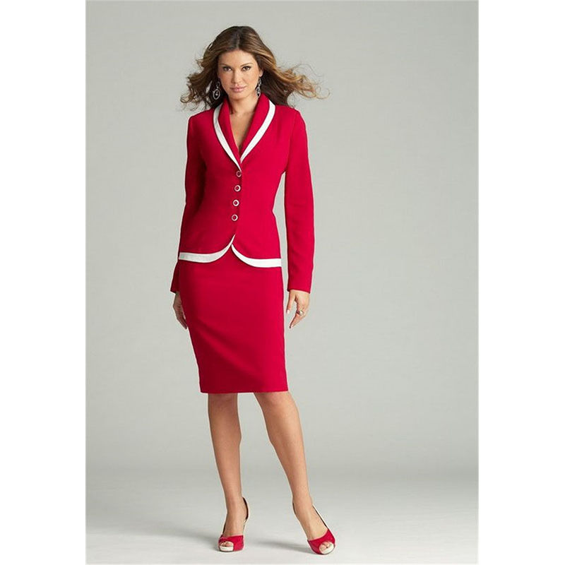 Red Womens Business Suits Ladies Spring/Winter Formal Skirt Suits Shawl Lapel Female Office Uniform B346