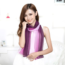 Silk scarf lady spring and autumn hundred sets Korean version sunscreen shawl long dual-purpose Chiffon Scarf decorative multi-f wome s unique rural stylethin chiffon shawl scarf sapphire blue multi color