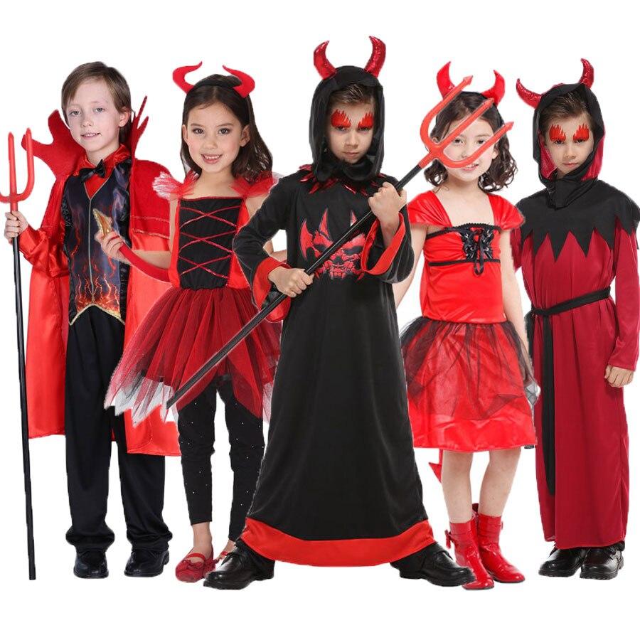 Umorden Scary Red Horn Devil Devilkin Costumes for Kids Child Boys Girls Demon Costume Cosplay Fancy Dress Robe Halloween